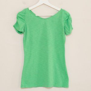 Lilly Pulitzer Green Ruched Sleeve Tee XS